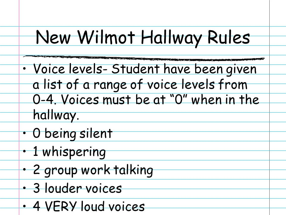 "New Wilmot Hallway Rules Voice levels- Student have been given a list of a range of voice levels from 0-4. Voices must be at ""0"" when in the hallway."
