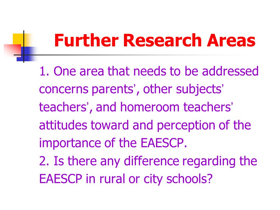 Further Research Areas 1.