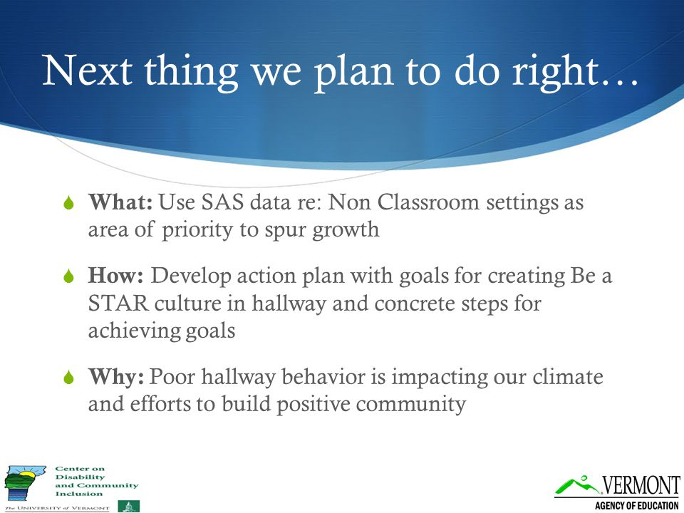 Next thing we plan to do right…  What: Use SAS data re: Non Classroom settings as area of priority to spur growth  How: Develop action plan with goa