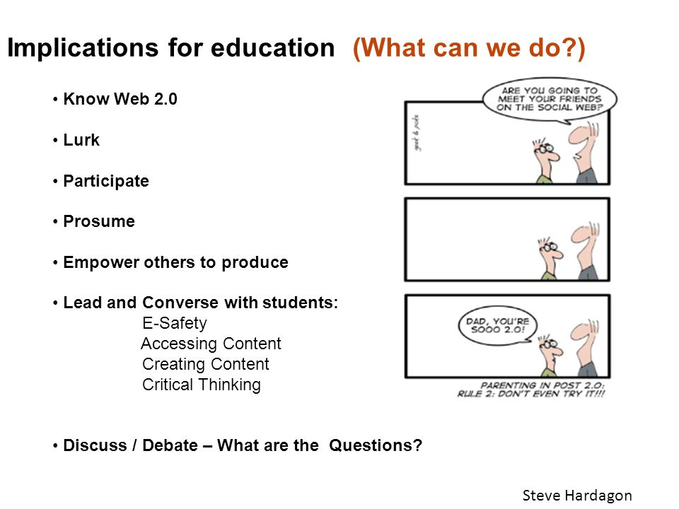 Implications for education(What can we do?) Steve Hardagon Know Web 2.0 Lurk Participate Prosume Empower others to produce Lead and Converse with students: E-Safety Accessing Content Creating Content Critical Thinking Discuss / Debate – What are the Questions?