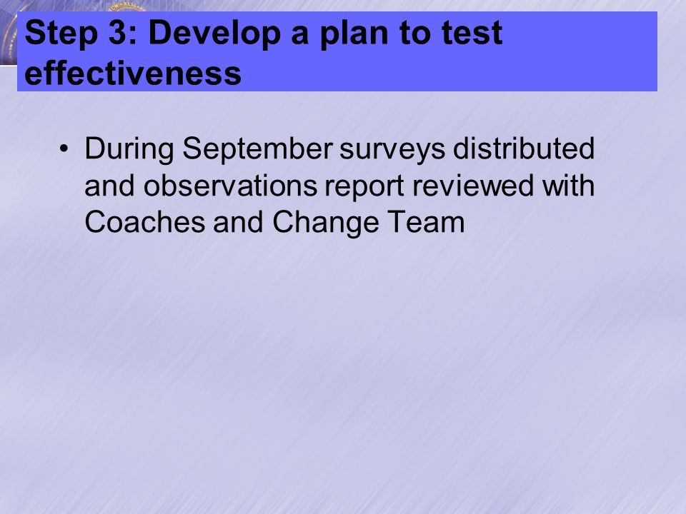 Step 4: Development an Implementation Plan Part A: 4-hour fundamentals course given to all staff –This occurred in October 2008 Part B: Begin actual TeamSTEPPS Interventions –Began when fundamentals course was done