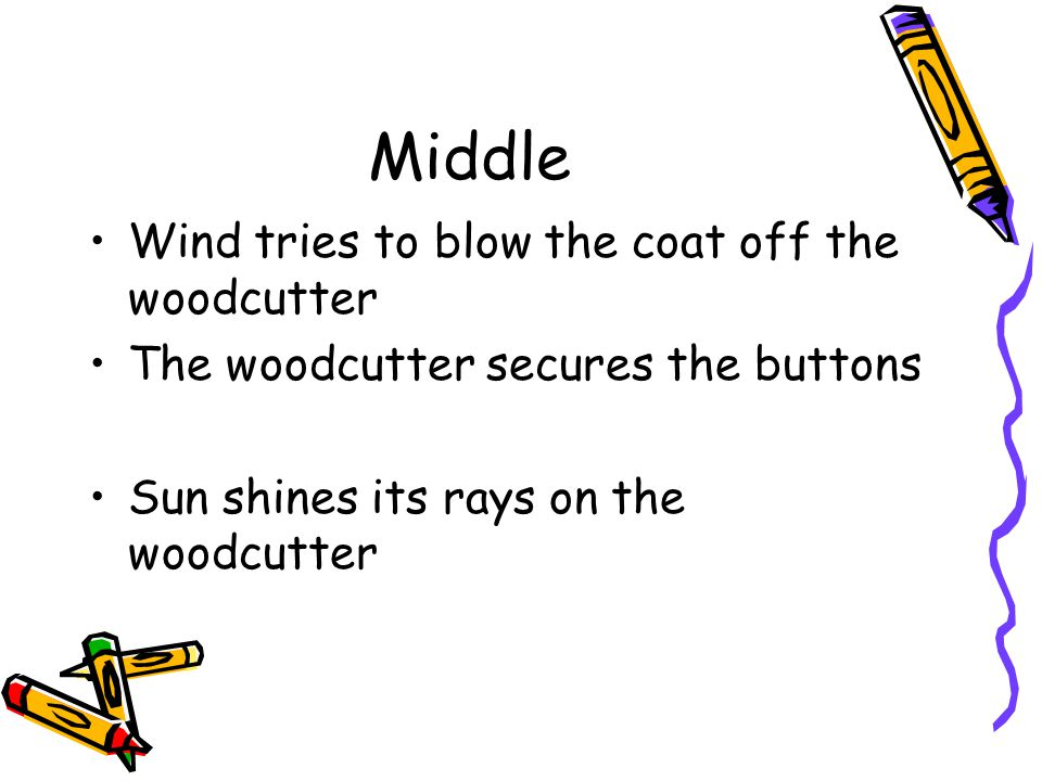 Middle Wind tries to blow the coat off the woodcutter The woodcutter secures the buttons Sun shines its rays on the woodcutter