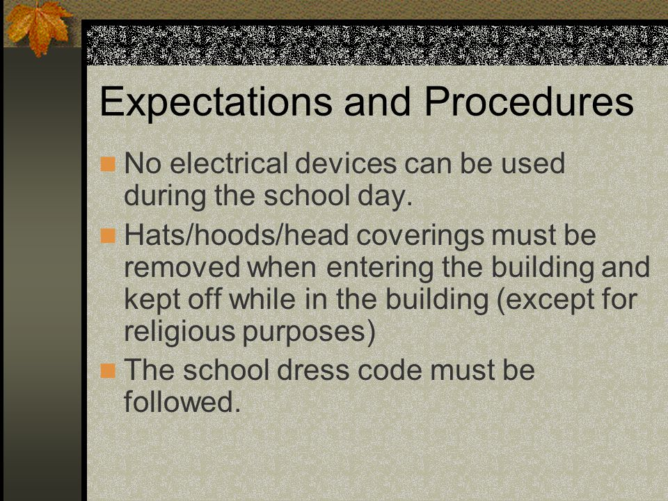 Expectations and Procedures No electrical devices can be used during the school day.