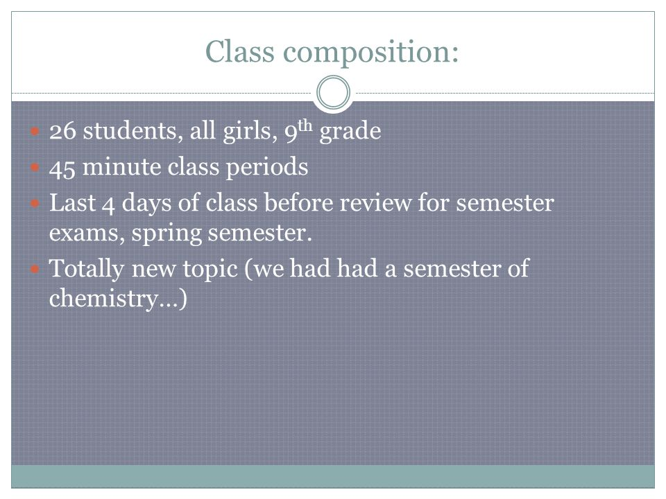 Class composition: 26 students, all girls, 9 th grade 45 minute class periods Last 4 days of class before review for semester exams, spring semester.