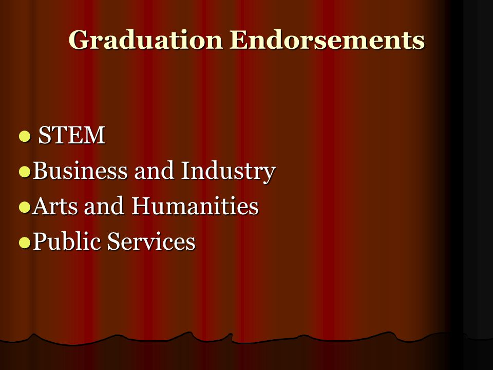 Graduation Endorsements STEM STEM Business and Industry Business and Industry Arts and Humanities Arts and Humanities Public Services Public Services