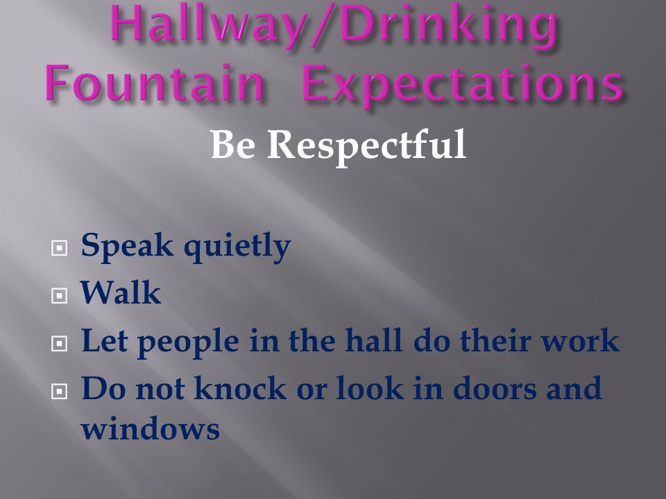Be Respectful  Speak quietly  Walk  Let people in the hall do their work  Do not knock or look in doors and windows