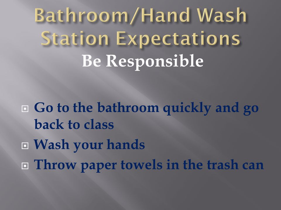 Be Respectful  Keep bathroom neat and clean  Speak quietly  Allow others privacy
