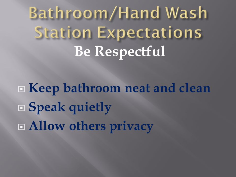 Be Respectful  Keep bathroom neat and clean  Speak quietly  Allow others privacy