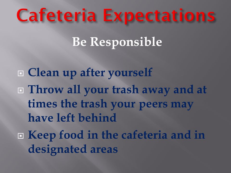 Be Safe  Walk to the cafeteria quietly  Form a single line while waiting to be served  Sit at your assigned table while eating  Keep your hands, feet, and objects to yourself  Throw away your empty food trays and trash