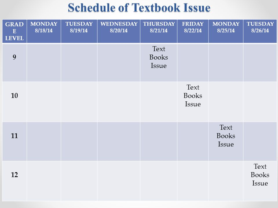 Schedule of Textbook Issue GRAD E LEVEL MONDAY 8/18/14 TUESDAY 8/19/14 WEDNESDAY 8/20/14 THURSDAY 8/21/14 FRIDAY 8/22/14 MONDAY 8/25/14 TUESDAY 8/26/14 9 Text Books Issue 10 Text Books Issue 11 Text Books Issue 12 Text Books Issue