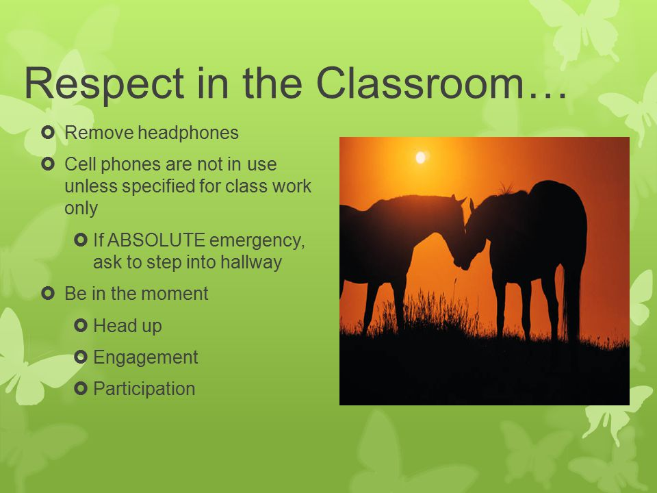 Respect in the Classroom…  Remove headphones  Cell phones are not in use unless specified for class work only  If ABSOLUTE emergency, ask to step into hallway  Be in the moment  Head up  Engagement  Participation