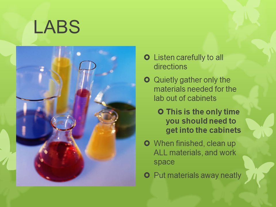 LABS  Listen carefully to all directions  Quietly gather only the materials needed for the lab out of cabinets  This is the only time you should need to get into the cabinets  When finished, clean up ALL materials, and work space  Put materials away neatly