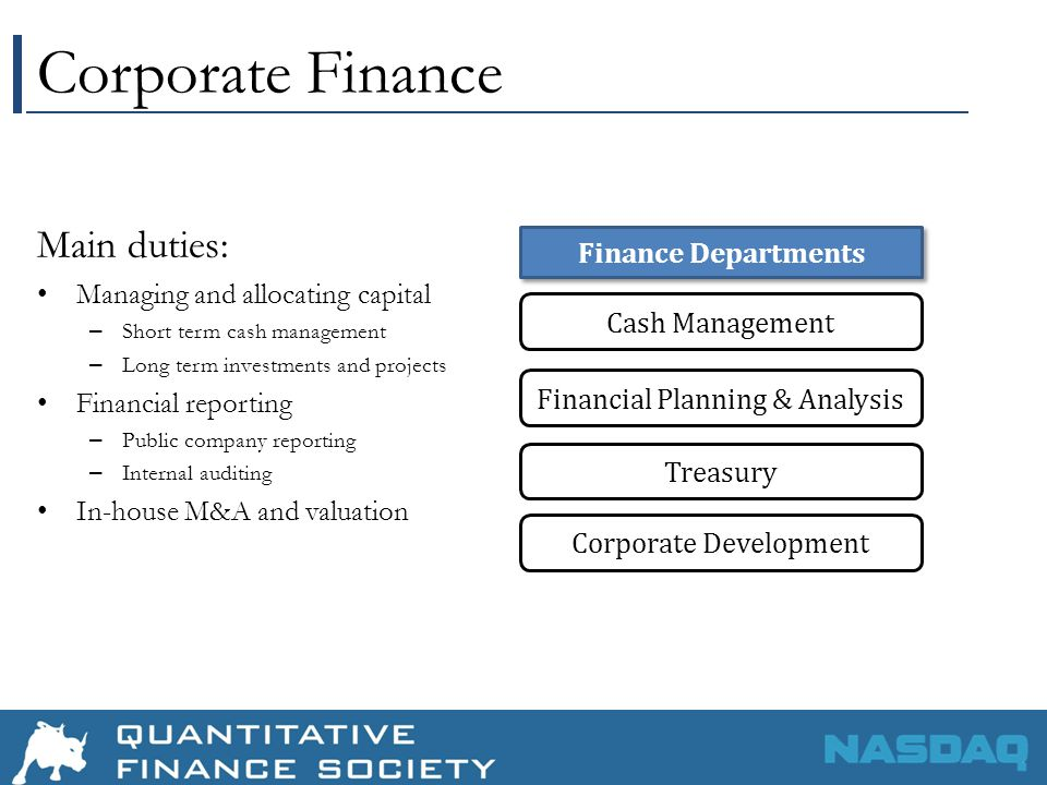 Corporate Finance Main duties: Managing and allocating capital – Short term cash management – Long term investments and projects Financial reporting – Public company reporting – Internal auditing In-house M&A and valuation Financial Planning & Analysis Treasury Cash Management Corporate Development Finance Departments