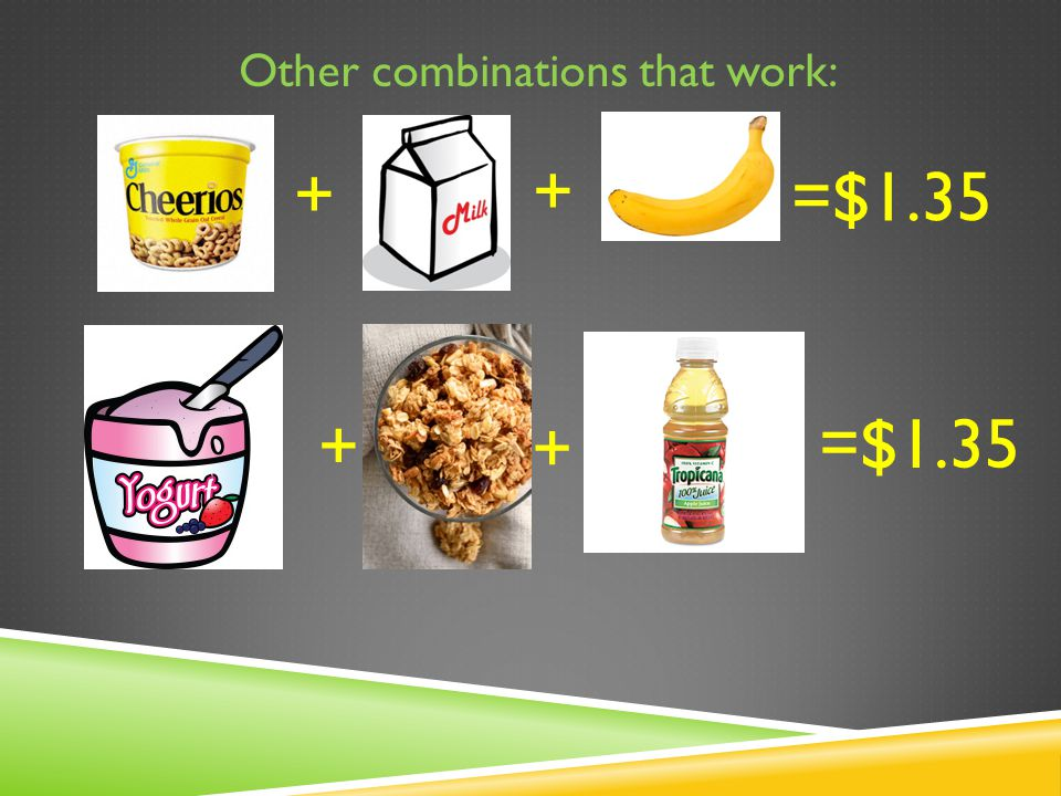 Other combinations that work: + + =$1.35 + +