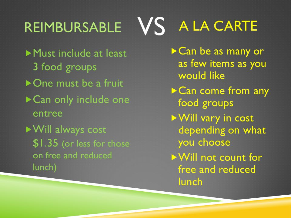 REIMBURSABLE  Must include at least 3 food groups  One must be a fruit  Can only include one entree  Will always cost $1.35 (or less for those on free and reduced lunch) A LA CARTE VS  Can be as many or as few items as you would like  Can come from any food groups  Will vary in cost depending on what you choose  Will not count for free and reduced lunch