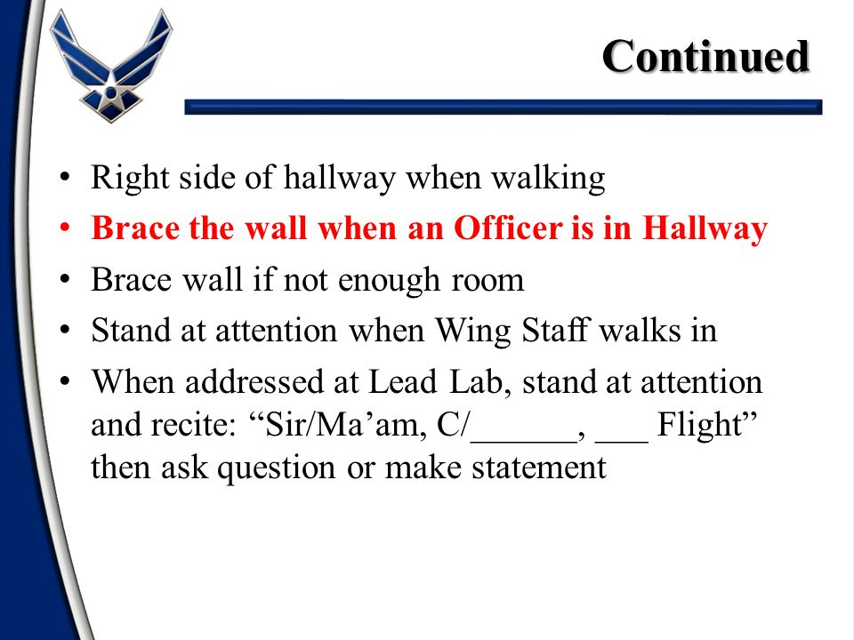 Right side of hallway when walking Brace the wall when an Officer is in Hallway Brace wall if not enough room Stand at attention when Wing Staff walks in When addressed at Lead Lab, stand at attention and recite: Sir/Ma'am, C/______, ___ Flight then ask question or make statementContinued