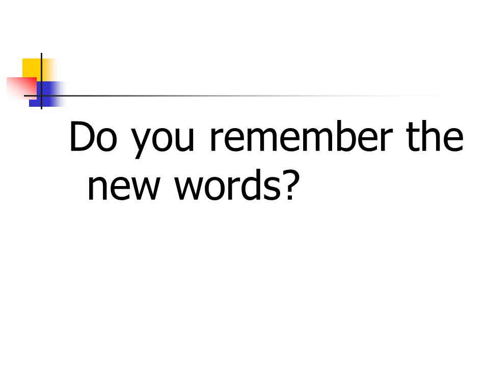 Do you remember the new words?