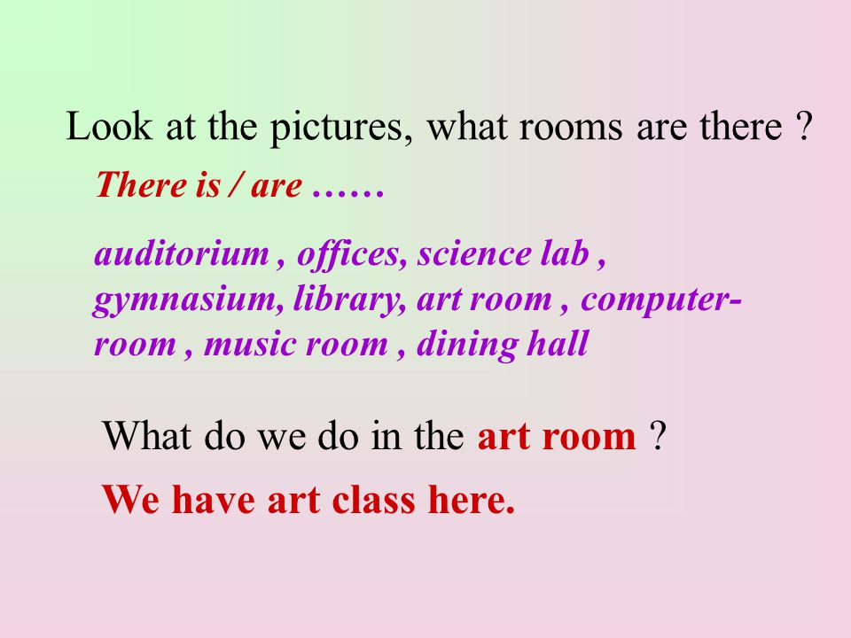 Look at the pictures, what rooms are there . What do we do in the art room .