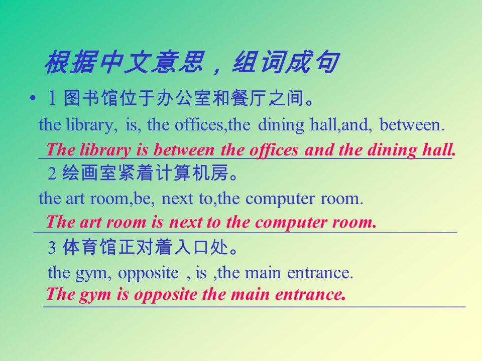 根据中文意思,组词成句 1 图书馆位于办公室和餐厅之间。 the library, is, the offices,the dining hall,and, between.