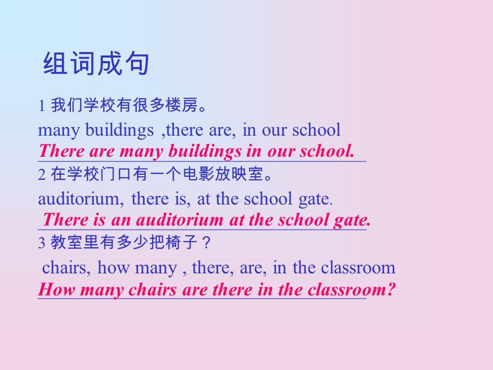 组词成句 1 我们学校有很多楼房。 many buildings,there are, in our school ________________________________________ 2 在学校门口有一个电影放映室。 auditorium, there is, at the schoo
