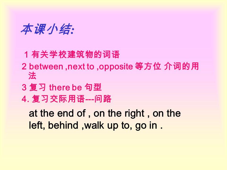 本课小结 : 1 有关学校建筑物的词语 2 between,next to,opposite 等方位 介词的用 法 3 复习 there be 句型 4. 复习交际用语 --- 问路 at the end of, on the right, on the left, behind,walk up t