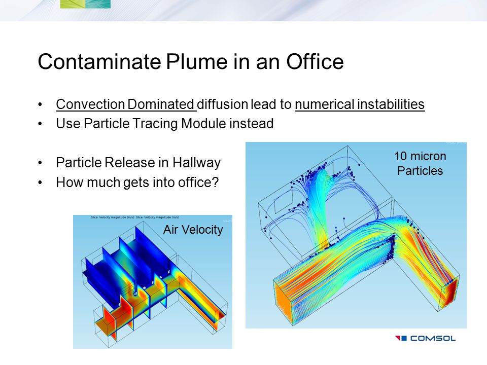 Contaminate Plume in an Office Convection Dominated diffusion lead to numerical instabilities Use Particle Tracing Module instead Particle Release in