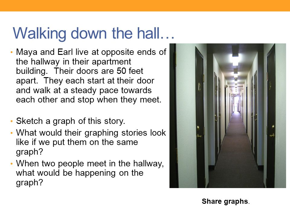 Walking down the hall… Maya and Earl live at opposite ends of the hallway in their apartment building. Their doors are 50 feet apart. They each start