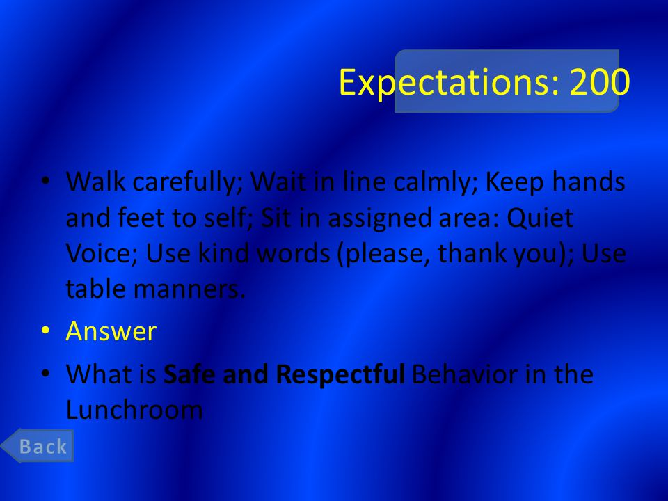 Expectations: 200 Walk carefully; Wait in line calmly; Keep hands and feet to self; Sit in assigned area: Quiet Voice; Use kind words (please, thank y
