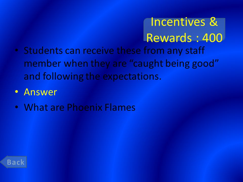 "Incentives & Rewards : 400 Students can receive these from any staff member when they are ""caught being good"" and following the expectations. Answer W"