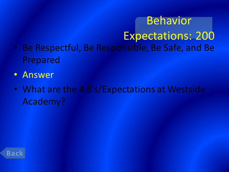 Behavior Expectations: 200 Be Respectful, Be Responsible, Be Safe, and Be Prepared Answer What are the 4 B's/Expectations at Westside Academy?