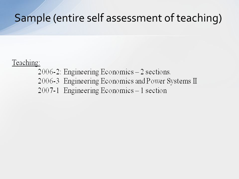 Sample (entire self assessment of teaching)