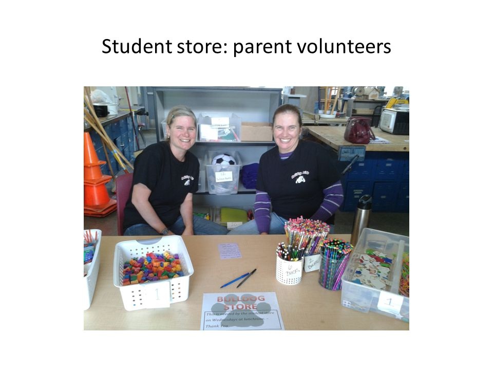 Student store: parent volunteers