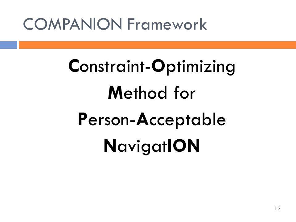 Constraint-Optimizing Method for Person-Acceptable NavigatION COMPANION Framework 13