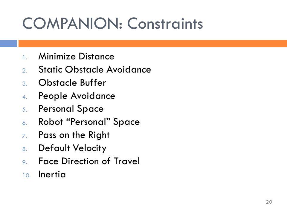 COMPANION: Constraints 20 1. Minimize Distance 2.