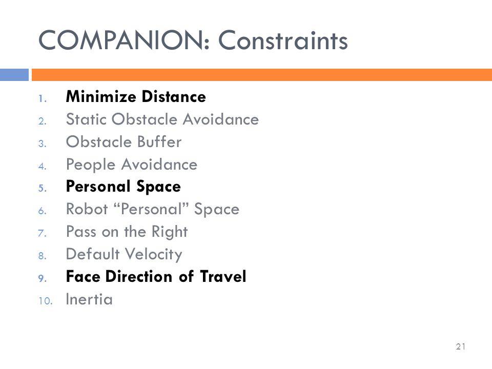 COMPANION: Constraints 21 1. Minimize Distance 2.