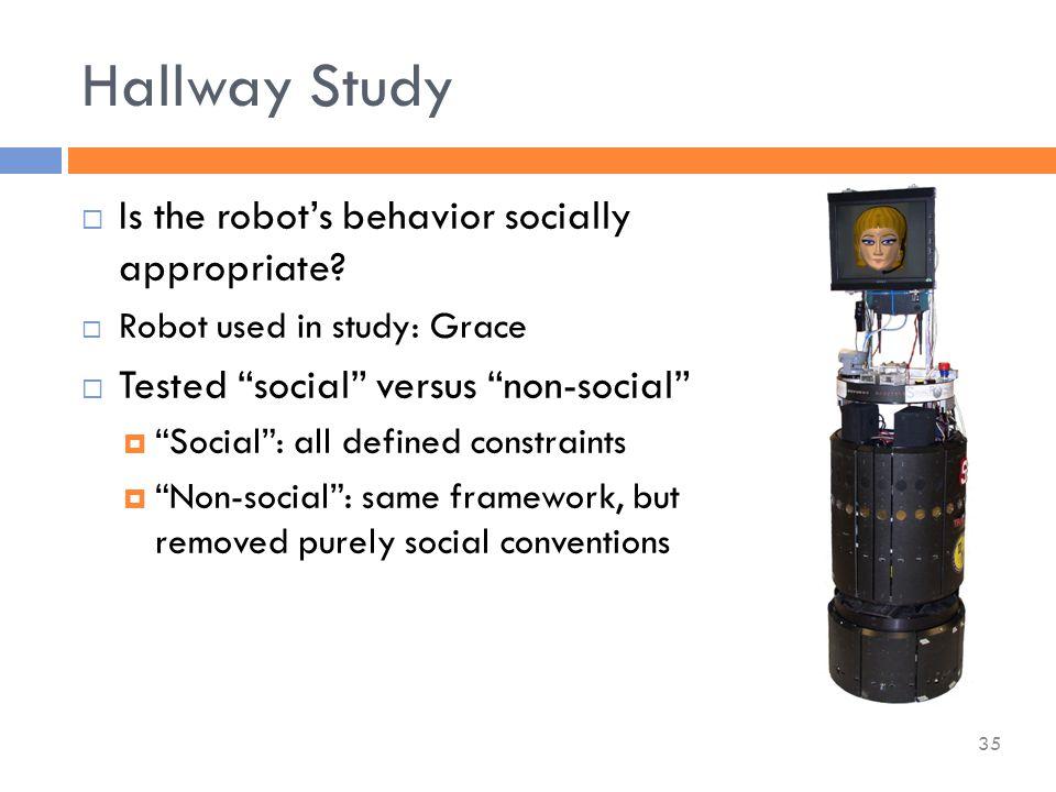 Hallway Study  Is the robot's behavior socially appropriate.