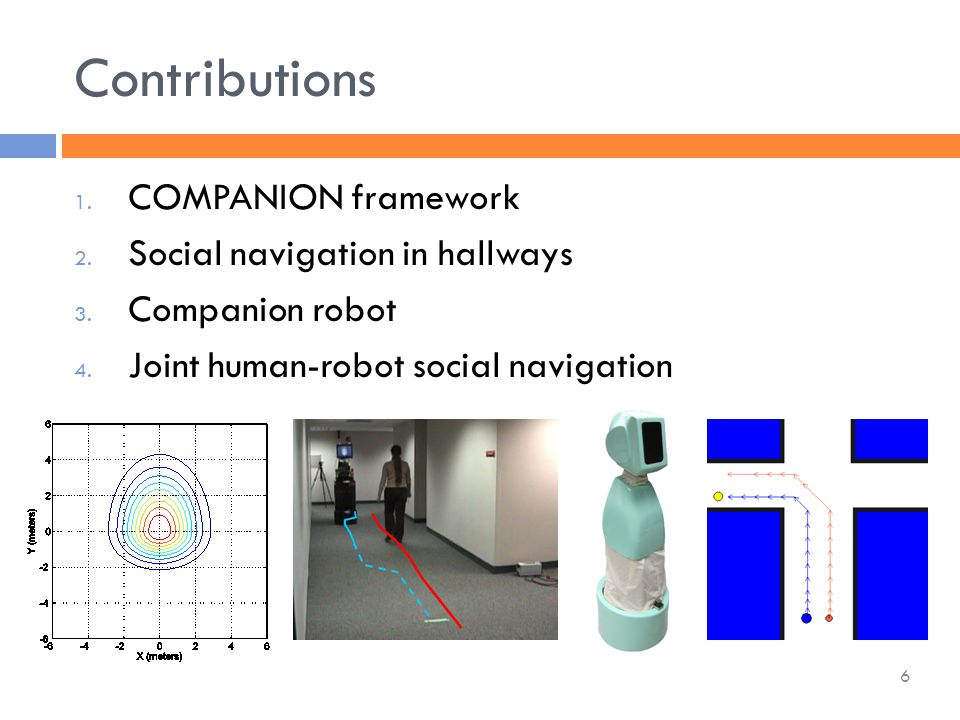  CARMEN framework (robot control and simulation)  A* search on 8-connected grid  Represent people in the state space  Various techniques for improving search speed  Laser-based person-tracking system COMPANION: Implementation 27