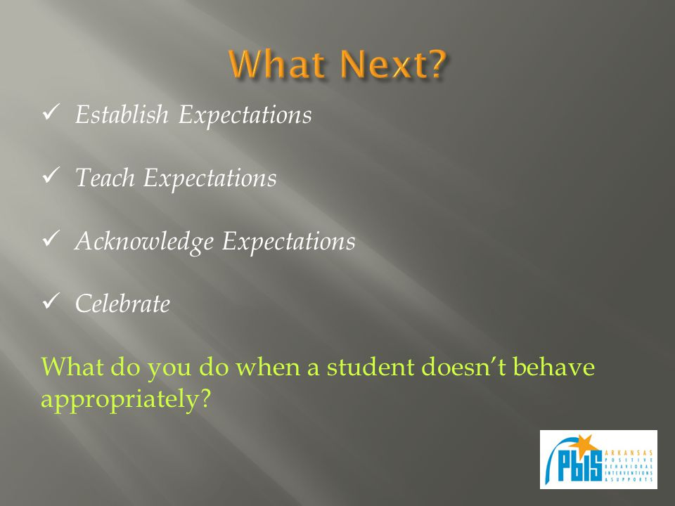 Establish Expectations Teach Expectations Acknowledge Expectations Celebrate What do you do when a student doesn't behave appropriately