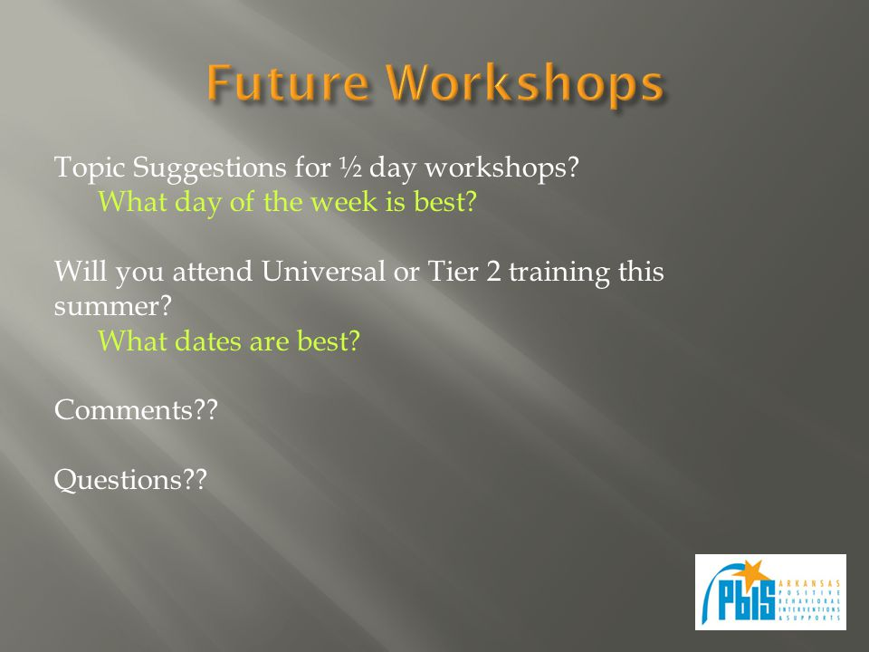 Topic Suggestions for ½ day workshops. What day of the week is best.