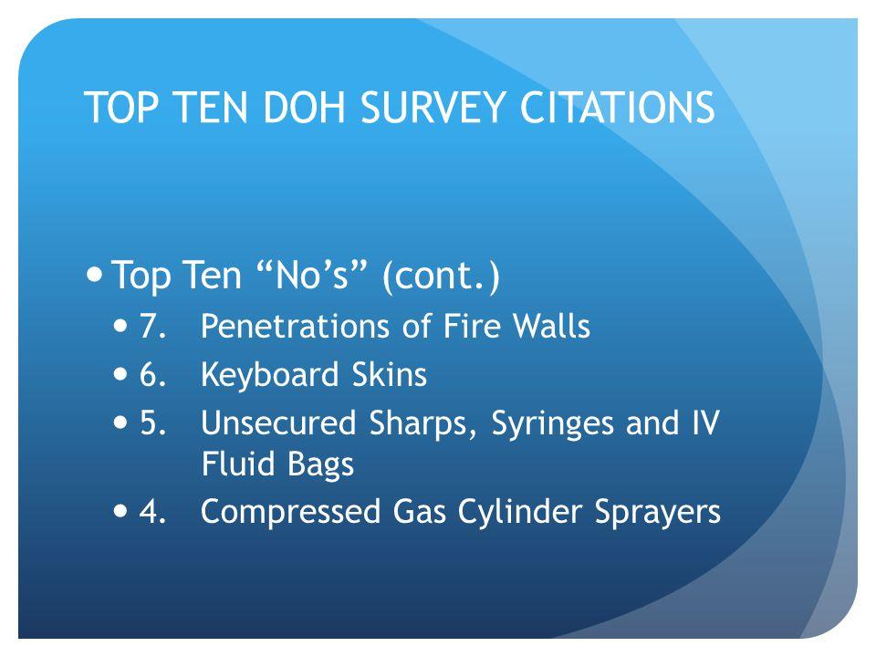 TOP TEN DOH SURVEY CITATIONS Top Ten No's (cont.) 7.