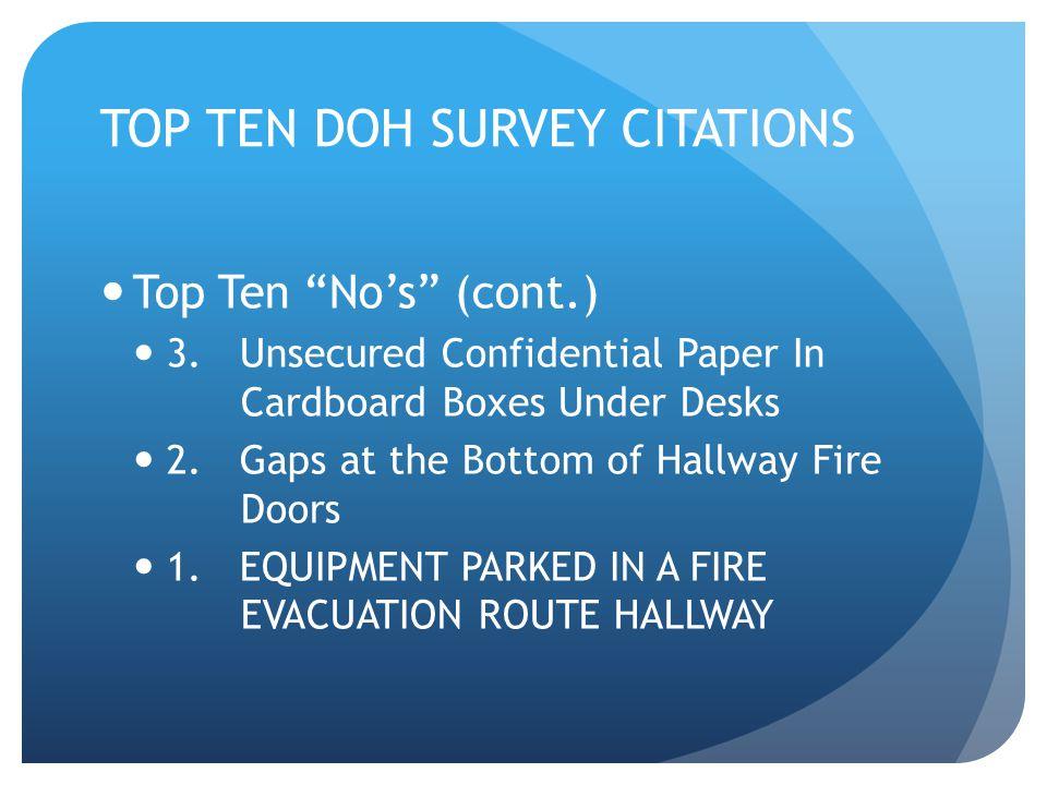 TOP TEN DOH SURVEY CITATIONS Top Ten No's (cont.) 3.