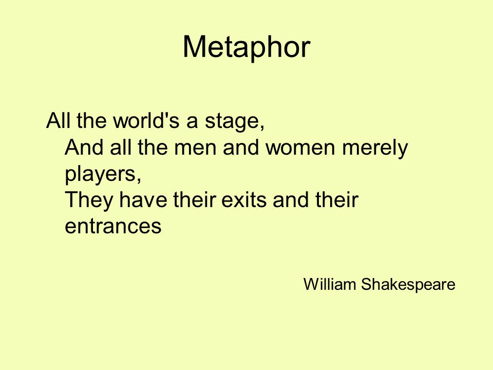 Metaphor All the world s a stage, And all the men and women merely players, They have their exits and their entrances William Shakespeare