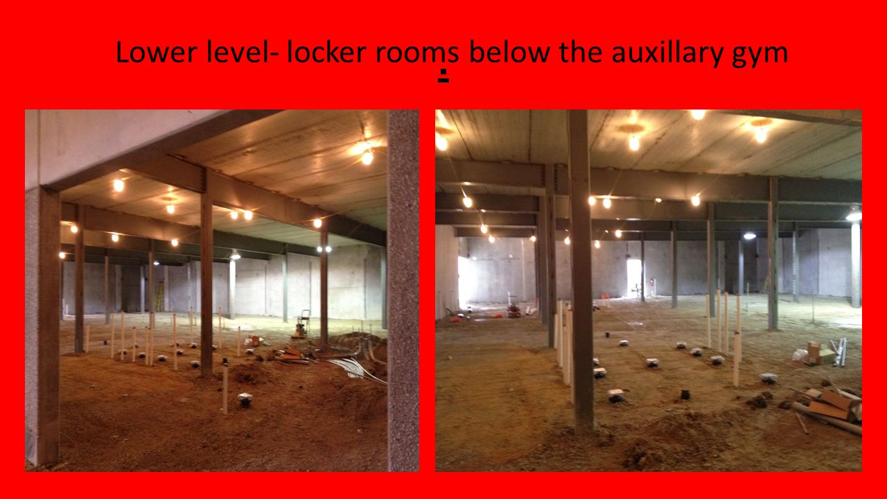. Lower hallway from Building A to gym and locker rooms Lower lobby- concession stand and rest rooms.