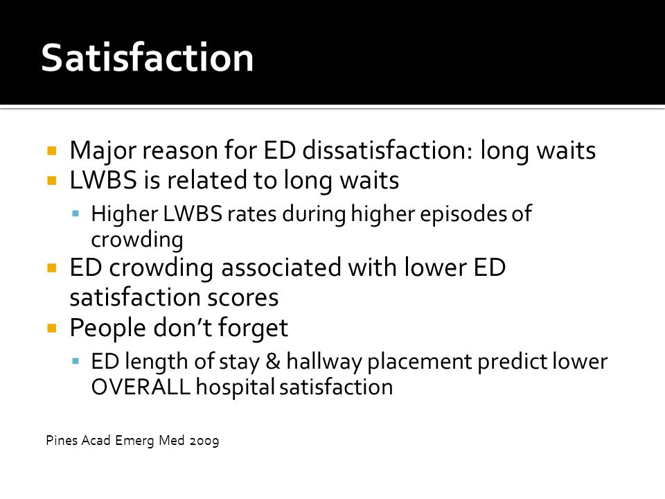 Satisfaction  Major reason for ED dissatisfaction: long waits  LWBS is related to long waits  Higher LWBS rates during higher episodes of crowding  ED crowding associated with lower ED satisfaction scores  People don't forget  ED length of stay & hallway placement predict lower OVERALL hospital satisfaction Pines Acad Emerg Med 2009