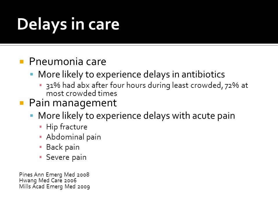 Delays in care  Pneumonia care  More likely to experience delays in antibiotics ▪ 31% had abx after four hours during least crowded, 72% at most cro