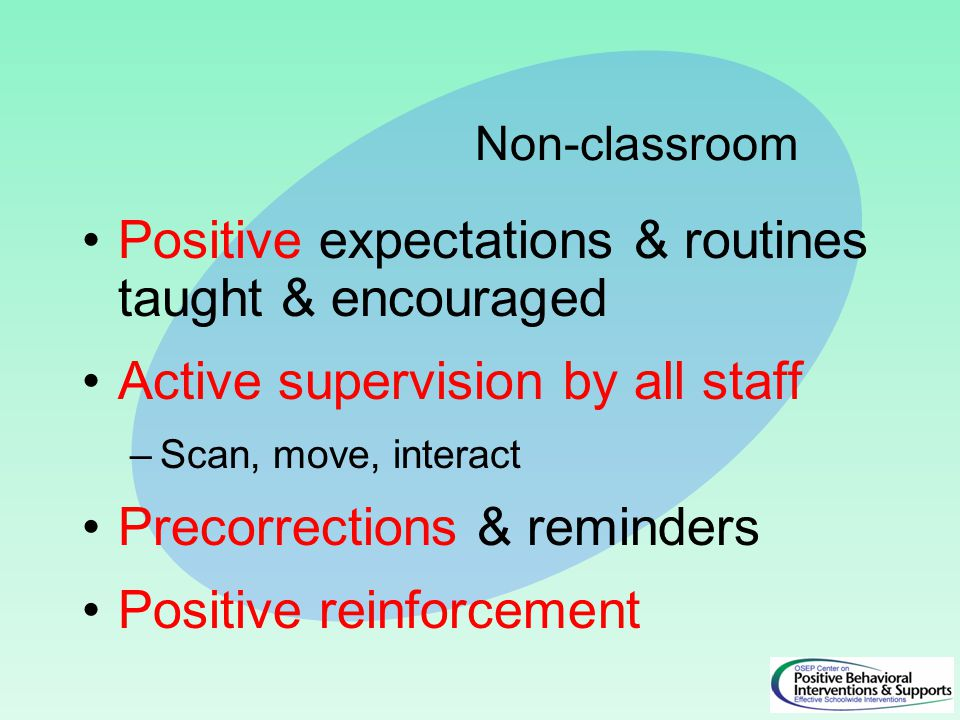 Positive expectations & routines taught & encouraged Active supervision by all staff –Scan, move, interact Precorrections & reminders Positive reinforcement Non-classroom