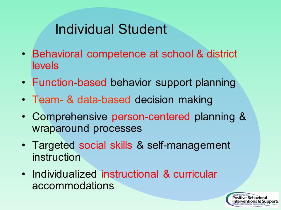 Behavioral competence at school & district levels Function-based behavior support planning Team- & data-based decision making Comprehensive person-centered planning & wraparound processes Targeted social skills & self-management instruction Individualized instructional & curricular accommodations Individual Student