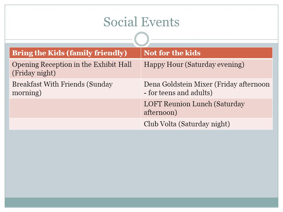 Social Events Bring the Kids (family friendly)Not for the kids Opening Reception in the Exhibit Hall (Friday night) Happy Hour (Saturday evening) Brea
