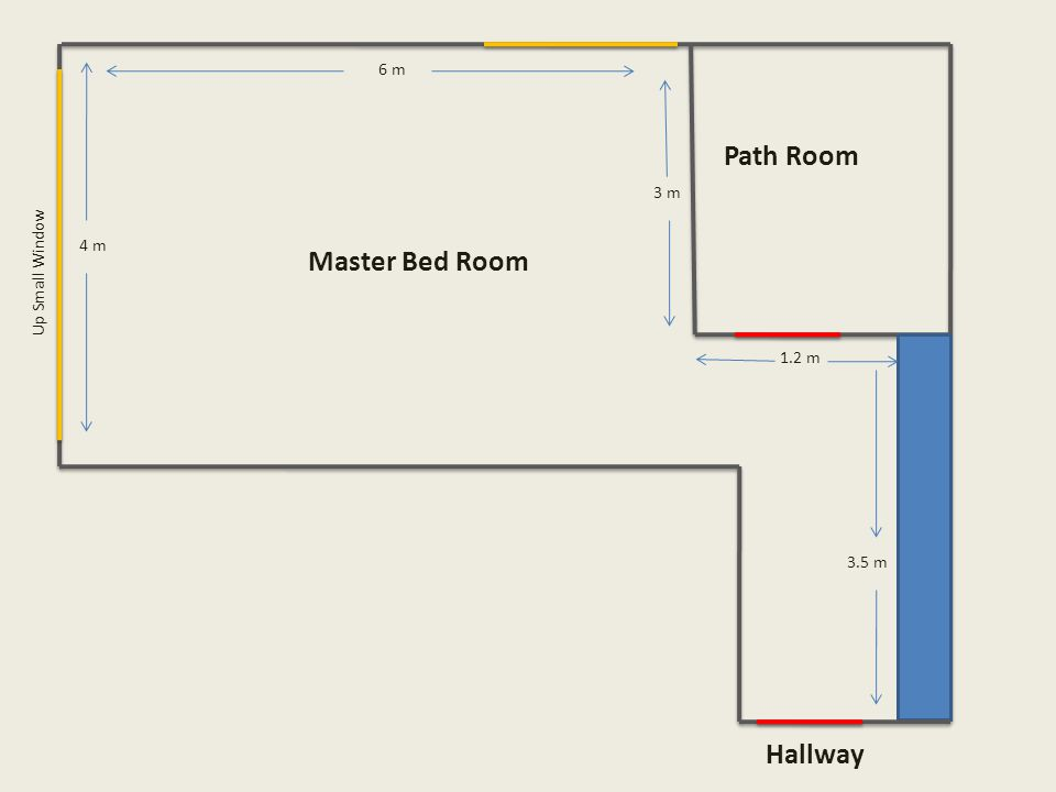 Up Small Window Master Bed Room 6 m 1.2 m 3.5 m 4 m Path Room Hallway 3 m