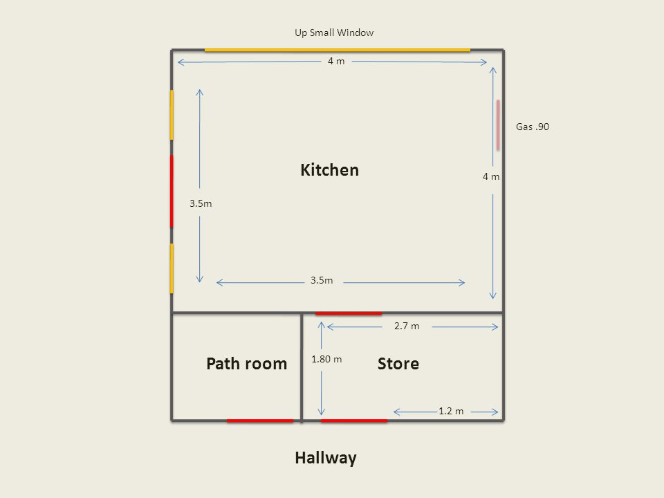 Up Small Window Kitchen 4 m 2.7 m 1.80 m 1.2 m 3.5m Path roomStore Hallway Gas.90